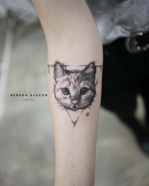Benson Tattoo Studio Fineline Cat Design