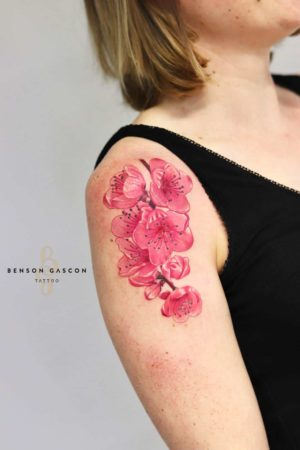 Benson Tattoo Studio Color Flower Design