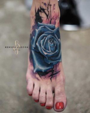 Benson Tattoo Studio Color Flower Blue Design