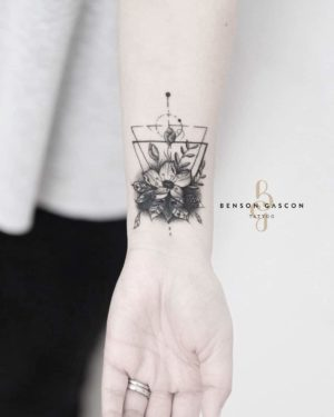 Benson Tattoo Studio Geometric Flower Design Tattoo