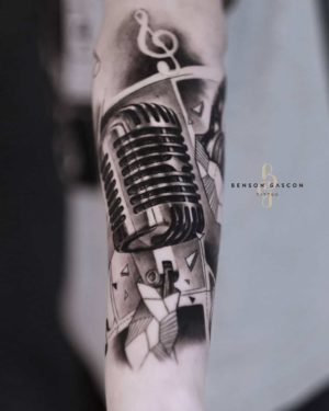 Benson Tattoo Studio Microphone Black and Grey Design