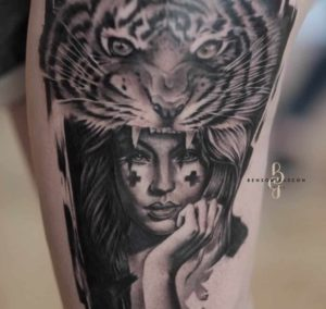 Benson Tattoo Studio Black and Grey Woman Design