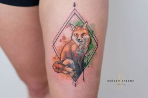 Benson Tattoo Studio Water Color Fox Tattoo Design